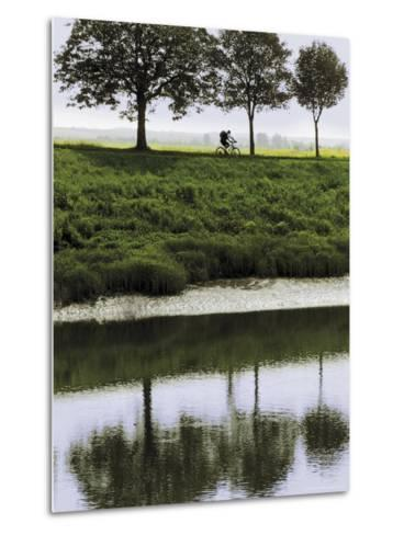Cyclist on Banks of River Somme, St. Valery Sur Somme, Picardy, France-David Hughes-Metal Print