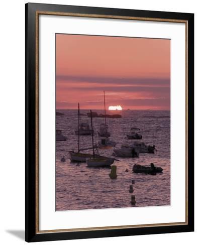 Sunset Over Boats Moored at Sea, Tregastel, Cote De Granit Rose, Cotes d'Armor, Brittany, France-David Hughes-Framed Art Print