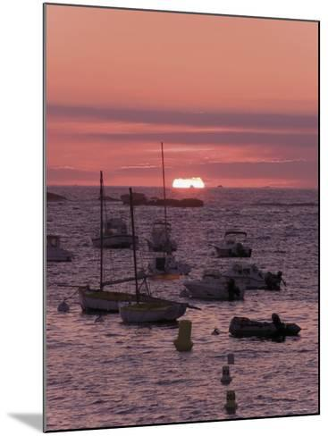 Sunset Over Boats Moored at Sea, Tregastel, Cote De Granit Rose, Cotes d'Armor, Brittany, France-David Hughes-Mounted Photographic Print