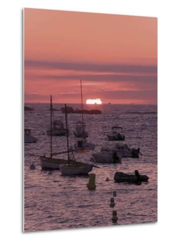 Sunset Over Boats Moored at Sea, Tregastel, Cote De Granit Rose, Cotes d'Armor, Brittany, France-David Hughes-Metal Print