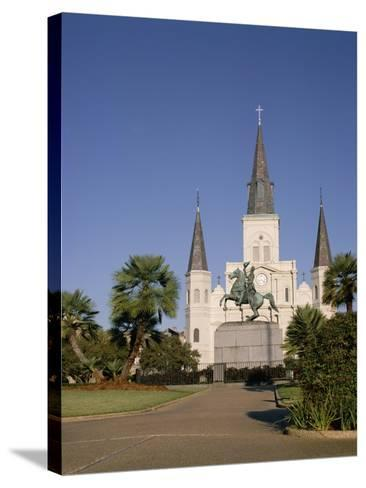 Spires of Christian Cathedral, St. Louis Cathedral, New Orleans, Louisiana, USA-G Richardson-Stretched Canvas Print