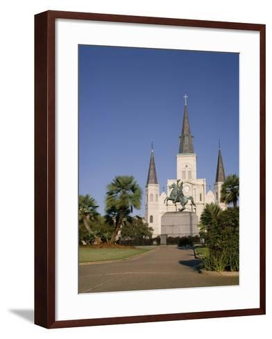 Spires of Christian Cathedral, St. Louis Cathedral, New Orleans, Louisiana, USA-G Richardson-Framed Art Print
