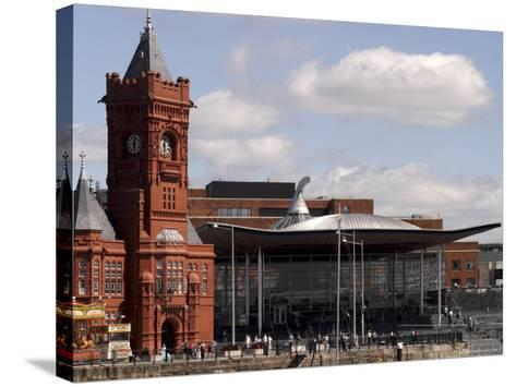 Cardiff Bay Skyline, with Pierhead Building and Welsh Assembly, Cardiff, Wales-G Richardson-Stretched Canvas Print