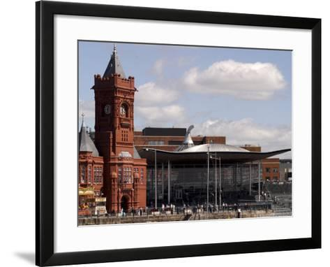 Cardiff Bay Skyline, with Pierhead Building and Welsh Assembly, Cardiff, Wales-G Richardson-Framed Art Print