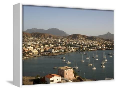 Mindelo City and Harbour, Sao Vicente, Cape Verde Islands, Atlantic, Africa-G Richardson-Framed Canvas Print