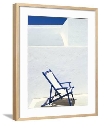 Deckchair Against Whitewashed Wall, Imerovigli, Santorini (Thira), Cyclades Islands, Greece-Lee Frost-Framed Art Print