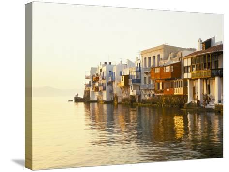 Little Venice at Sunset, Mykonos Town, Mykonos, (Mikonos), Greek Islands, Greece-Lee Frost-Stretched Canvas Print