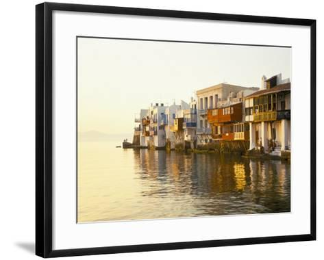 Little Venice at Sunset, Mykonos Town, Mykonos, (Mikonos), Greek Islands, Greece-Lee Frost-Framed Art Print