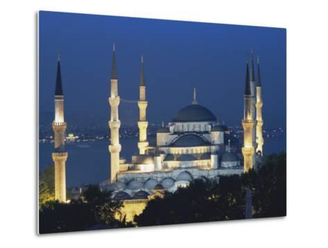 Blue Mosque (Sultan Ahmet Mosque) at Night, Istanbul, Turkey-Lee Frost-Metal Print