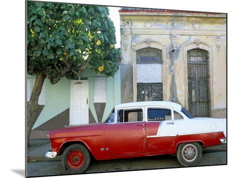 Old American Car Parked on Street Beneath Fruit Tree, Cienfuegos, Cuba, Central America-Lee Frost-Mounted Photographic Print
