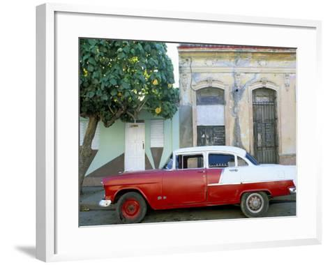 Old American Car Parked on Street Beneath Fruit Tree, Cienfuegos, Cuba, Central America-Lee Frost-Framed Art Print
