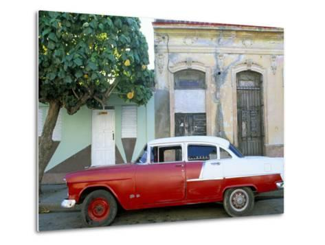 Old American Car Parked on Street Beneath Fruit Tree, Cienfuegos, Cuba, Central America-Lee Frost-Metal Print