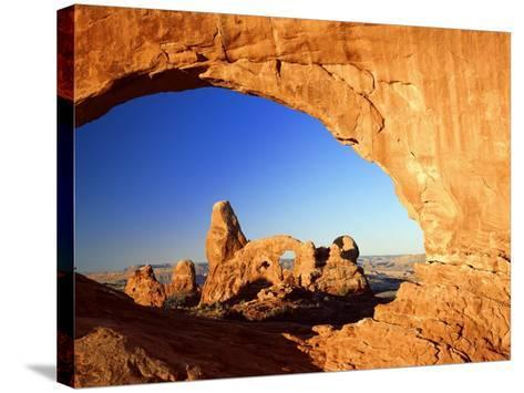 Turret Arch Through North Window at Sunrise, Arches National Park, Moab, Utah, USA-Lee Frost-Stretched Canvas Print