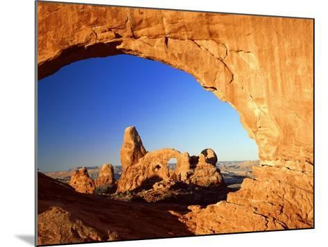 Turret Arch Through North Window at Sunrise, Arches National Park, Moab, Utah, USA-Lee Frost-Mounted Photographic Print