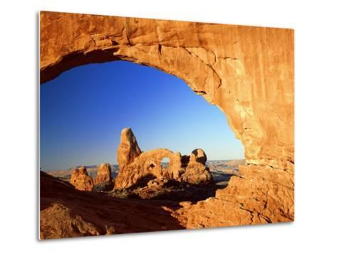 Turret Arch Through North Window at Sunrise, Arches National Park, Moab, Utah, USA-Lee Frost-Metal Print