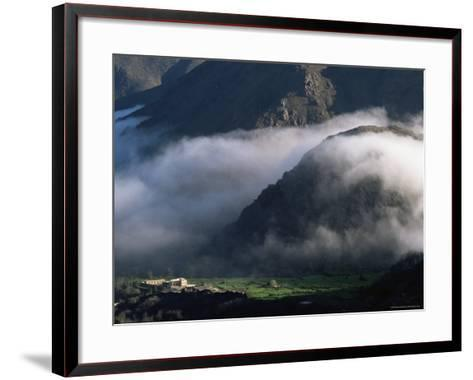 Local School Below Mist Rising in Valley of the High Atlas Mountains, Morocco, North Africa, Africa-David Poole-Framed Art Print