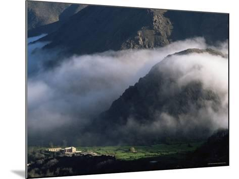 Local School Below Mist Rising in Valley of the High Atlas Mountains, Morocco, North Africa, Africa-David Poole-Mounted Photographic Print