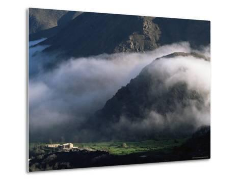 Local School Below Mist Rising in Valley of the High Atlas Mountains, Morocco, North Africa, Africa-David Poole-Metal Print