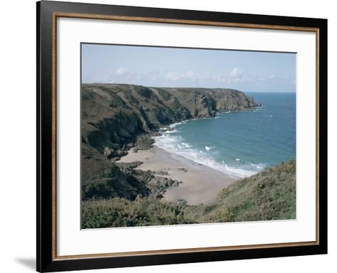Plemont Bay from Clifftop, Greve Aulancon, Jersey, Channel Islands, United Kingdom-Julian Pottage-Framed Art Print