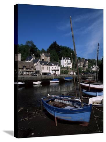 Blue Sailing Dinghy and River Aven, Pont-Aven, Brittany, France-Julian Pottage-Stretched Canvas Print