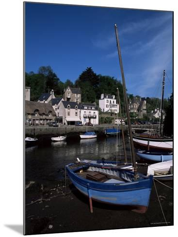Blue Sailing Dinghy and River Aven, Pont-Aven, Brittany, France-Julian Pottage-Mounted Photographic Print