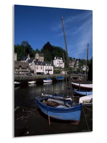 Blue Sailing Dinghy and River Aven, Pont-Aven, Brittany, France-Julian Pottage-Metal Print