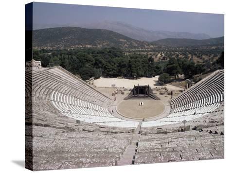 Restored Theatre, Epidaurus, Unesco World Heritage Site, Greece-Jack Jackson-Stretched Canvas Print