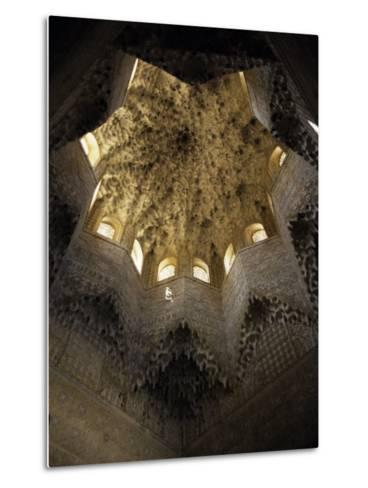 Moorish Ceiling, Alhambra Palace, Unesco World Heritage Site, Granada, Andalucia, Spain-Christopher Rennie-Metal Print