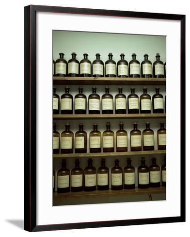 Shelves of Old Essence Bottles, Parfumerie Fragonard, Grasse, Alpes Maritimes, Provence, France-Christopher Rennie-Framed Art Print
