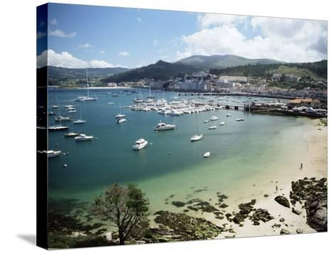 View of Beach, Harbour and Town, Bayona, Galicia, Spain-Duncan Maxwell-Stretched Canvas Print