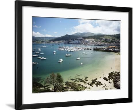 View of Beach, Harbour and Town, Bayona, Galicia, Spain-Duncan Maxwell-Framed Art Print