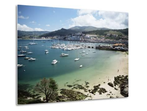 View of Beach, Harbour and Town, Bayona, Galicia, Spain-Duncan Maxwell-Metal Print