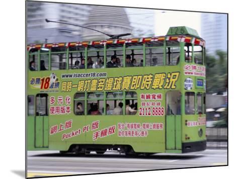 Green Tram, Central, Hong Kong Island, Hong Kong, China-Amanda Hall-Mounted Photographic Print