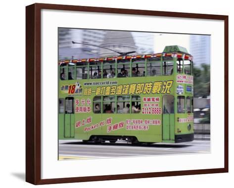 Green Tram, Central, Hong Kong Island, Hong Kong, China-Amanda Hall-Framed Art Print