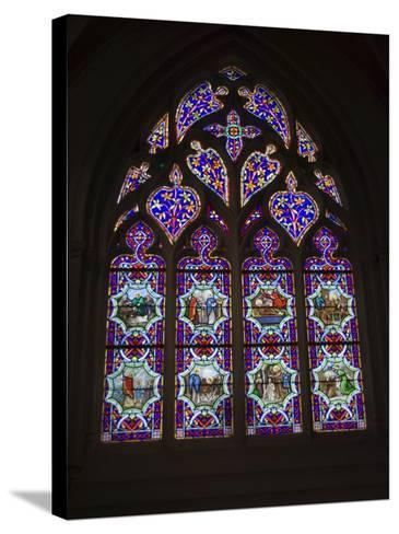 15th Century Stained Glass Window in the Cathedrale St-Corentin, Southern Finistere, France-Amanda Hall-Stretched Canvas Print
