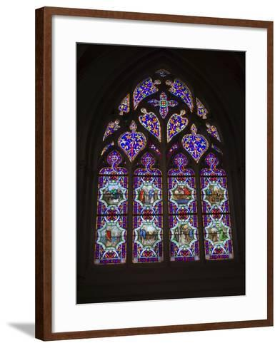 15th Century Stained Glass Window in the Cathedrale St-Corentin, Southern Finistere, France-Amanda Hall-Framed Art Print