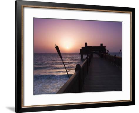 Pier at Madinat Jumeirah Hotel, Dubai, United Arab Emirates, Middle East-Amanda Hall-Framed Art Print