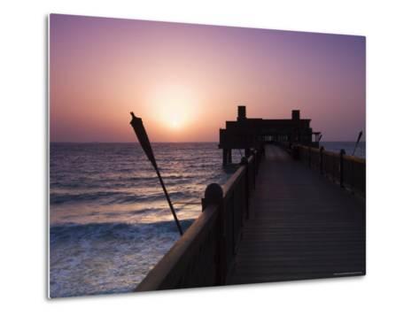 Pier at Madinat Jumeirah Hotel, Dubai, United Arab Emirates, Middle East-Amanda Hall-Metal Print