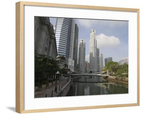 Cavenagh Bridge and the Singapore River Looking Towards the Financial District, Singapore-Amanda Hall-Framed Art Print