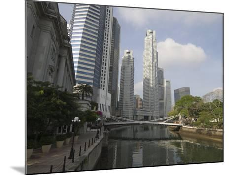 Cavenagh Bridge and the Singapore River Looking Towards the Financial District, Singapore-Amanda Hall-Mounted Photographic Print