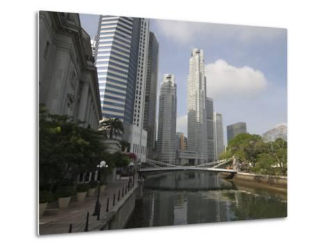 Cavenagh Bridge and the Singapore River Looking Towards the Financial District, Singapore-Amanda Hall-Metal Print