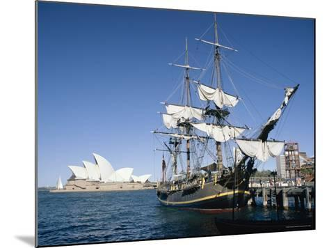 Replica of H.M.S. Bounty and Sydney Opera House, Sydney, New South Wales (N.S.W.), Australia-Amanda Hall-Mounted Photographic Print