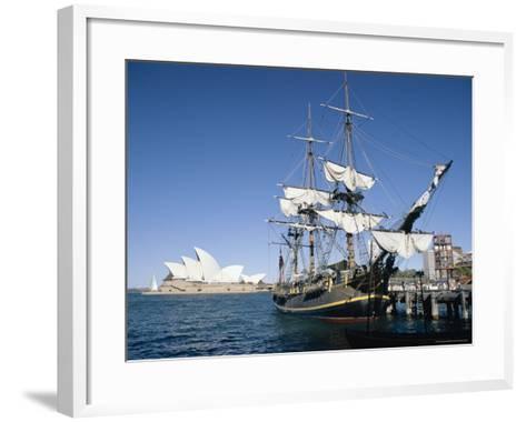 Replica of H.M.S. Bounty and Sydney Opera House, Sydney, New South Wales (N.S.W.), Australia-Amanda Hall-Framed Art Print