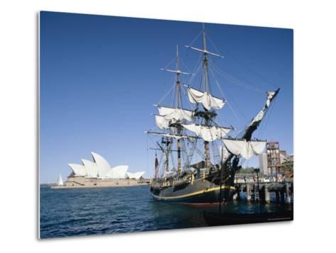Replica of H.M.S. Bounty and Sydney Opera House, Sydney, New South Wales (N.S.W.), Australia-Amanda Hall-Metal Print
