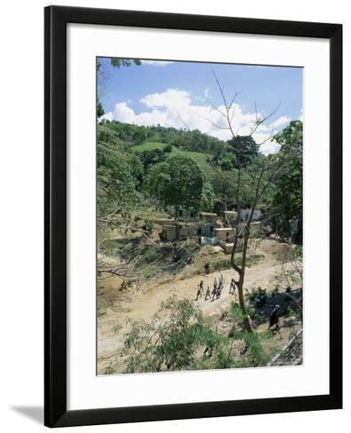Houses and People Walking in Dry River Bed Caused by Erosion, Near Petionville, Haiti, West Indies-Lousie Murray-Framed Art Print