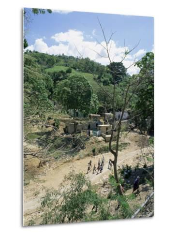 Houses and People Walking in Dry River Bed Caused by Erosion, Near Petionville, Haiti, West Indies-Lousie Murray-Metal Print