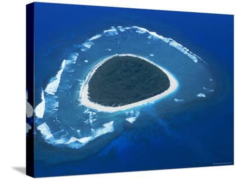 Aerial View, Reef Formation and Island, Fiji, South Pacific Islands-Lousie Murray-Stretched Canvas Print