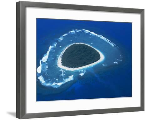Aerial View, Reef Formation and Island, Fiji, South Pacific Islands-Lousie Murray-Framed Art Print