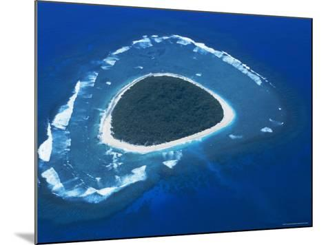 Aerial View, Reef Formation and Island, Fiji, South Pacific Islands-Lousie Murray-Mounted Photographic Print