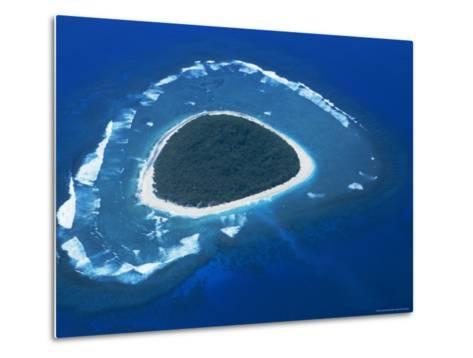 Aerial View, Reef Formation and Island, Fiji, South Pacific Islands-Lousie Murray-Metal Print